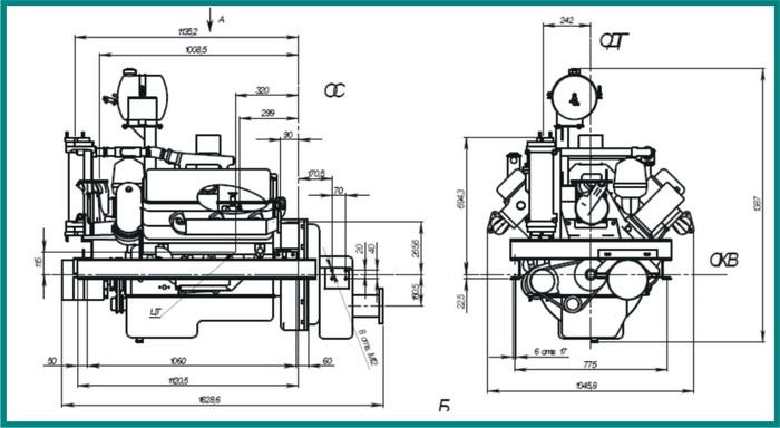 чертеж судового двигателя